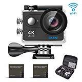 EKEN H9R 4K アクションカメラ, Full HD Wifi スポーツ用防水ウェアラブルカメラ4K25/ 1080P60/ 720P120fps 映像再生と12MP画像を搭載、更に170度の広角レンズ、16マウンティングスキット、二つのバッテリー、充電器、自撮り棒を同梱 (黒)